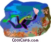 Vector Clip Art image  of a scuba diving