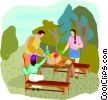 family picnic Vector Clipart illustration