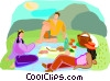 Vector Clipart graphic  of a family picnic