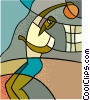 Vector Clip Art image  of a Basketball player slam dunking