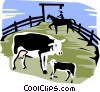 Vector Clip Art graphic  of a cows in a corral