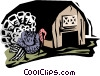 turkey farm Vector Clipart graphic