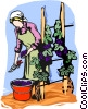 picking grapes Vector Clip Art picture