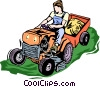 Vector Clip Art image  of a riding mower