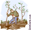 Vector Clip Art image  of a planting trees
