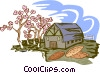 Vector Clip Art graphic  of a pecan farming