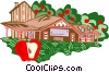 Vector Clip Art graphic  of an Apple farming