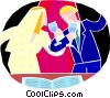 Wedding couple making a toast Vector Clipart illustration