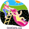 playing on a slide Vector Clipart picture