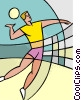 Vector Clipart graphic  of a Volleyball player serving the