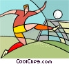 Vector Clipart graphic  of a Soccer player kicking ball