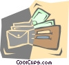 Vector Clip Art image  of a wallet with money