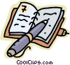 Vector Clip Art graphic  of a notebook and pen