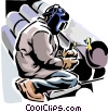 Vector Clipart picture  of a Welder welding  pipes