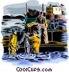 Vector Clipart image  of a Commercial fishing industry