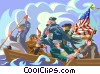 Vector Clip Art image  of a Washington crossing the