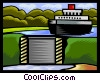 ship approaching locks Vector Clipart picture