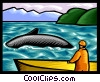 Vector Clipart graphic  of a whale watching