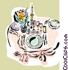 Vector Clipart graphic  of a restaurant table setting