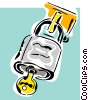 Vector Clip Art graphic  of a under lock and key