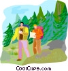 Vector Clipart graphic  of a hiking