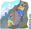 Vector Clipart picture  of a rock climbing