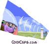ground to air communications Vector Clipart illustration