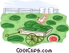 watermelons on a wagon Vector Clipart illustration
