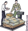 Vector Clip Art image  of a weighing commodities