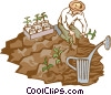 planting a crop Vector Clipart illustration
