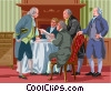 drafting the Declaration of Independence Vector Clipart illustration