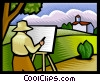 Vector Clipart graphic  of an Artist painting an outdoor scene
