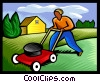 mowing the lawn Vector Clipart illustration