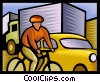 Cyclist in traffic Vector Clip Art picture
