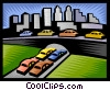 Vector Clip Art picture  of a traffic congestion