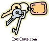 Vector Clipart image  of a keys on a key chain