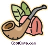 Vector Clip Art graphic  of a pipe with tobacco pouch