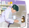 Vector Clipart image  of a Pharmacist filling