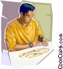 Vector Clipart image  of an Artist drawing