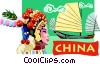 Vector Clip Art picture  of a China postcard design
