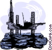 Vector Clip Art picture  of a oil drilling platform
