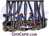 working in an oilfield Vector Clip Art image