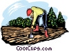 Vector Clip Art graphic  of a Farmer working the soil