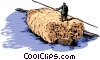 floating barge with load of hay Vector Clipart picture