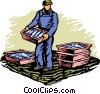 Commercial fisherman Vector Clipart illustration