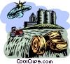 hay bales with silos Vector Clip Art picture