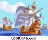 Nina, Pinta, Santa Maria, Christopher Columbus Vector Clipart illustration