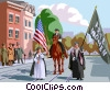 Vector Clipart picture  of a women's suffrage on parade