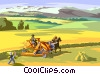 Combine/Thresher, first automated farm implement Vector Clipart graphic
