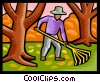Man raking leaves Vector Clipart image